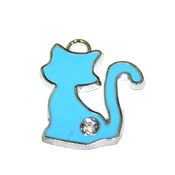 1 x 22*19mm rhodium plated blue colour cat enamel charm with rhinestone - S.D03 - CHE1012